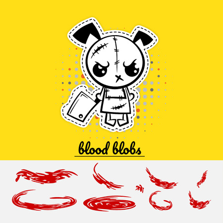 Halloween evil cartoon funny dog puppy monster knife set blood. Pop art wow comic book text party. Angry monochrome thread needle sewing voodoo doll. Vector illustration sticker paper.
