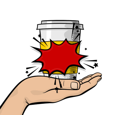 Pop art advertise poster. Man, guy hand hold paper hot tea coffee mug. Strong wow finger, mock up. Comic text cartoon speech sale bubble, balloon cloud box. Vector halftone illustration. Illustration