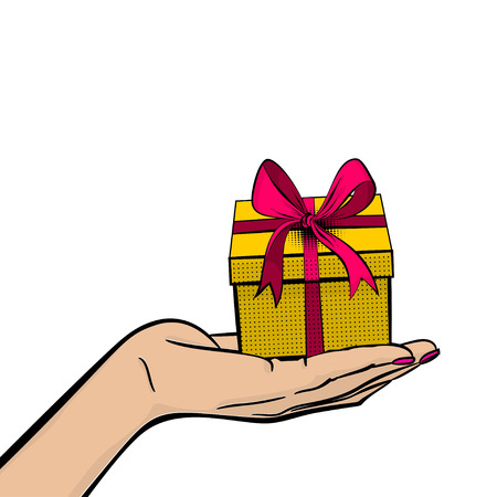 Pop art woman hand hold gift box beautiful ribbon for holiday birthday, christmas. Comic book vector halftone sketch illustration. Vintage retro wow party cartoon poster. Happy fashion gesture.