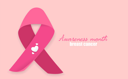 Awareness woman October month. Material flat realistic pink ribbon with soft shadow support charity against breast cancer. Medical banner. Concept poster female day card. Satin bow badge. Ilustracja