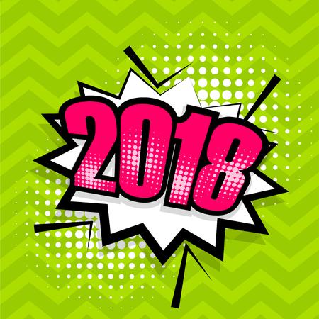 Popart komische tekst 2018 tekstballon Stock Illustratie