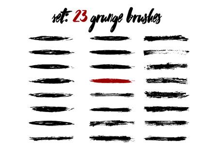 Set grunge brushstroke dirty isolated paintbrush template. Brush black frame collection. Illustration
