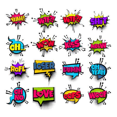 Pop art phrase comic text set vector illustration