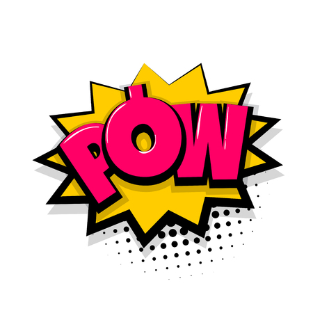 Pow gun bang shot. Comic text speech bubble balloon. Pop art style wow banner message. Comics book font sound phrase template. Halftone dot illustration funny colored design. Stock Photo