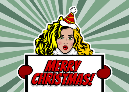 Woman pop art with Christmas greeting Vettoriali