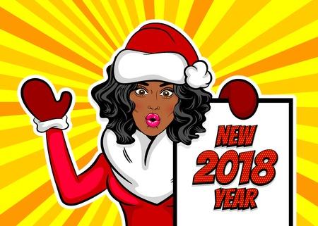 Woman pop art greeting Christmas Vettoriali