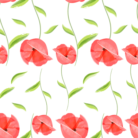 Vintage hand drawn little bloom poppies old floral fashion design. Fresh watercolor red poppy seamless pattern. Flower colored provence wallpaper textiles, bed linen decor. Illustration