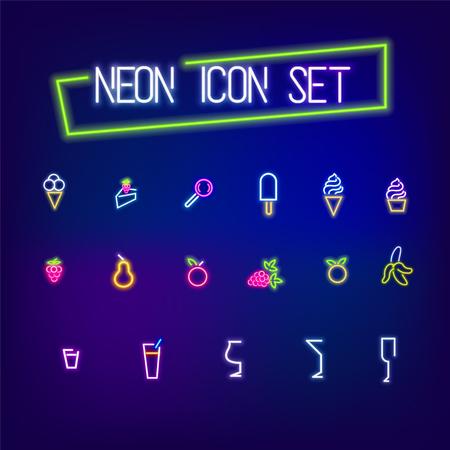 Neon cafe bar food icon set