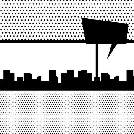 Comics book monochrome template background. Silhouette city boom explosion. Speech bubble balloon. Pop art black white empty backdrop mock up. Vector illustration halftone dot mockup for comic text.