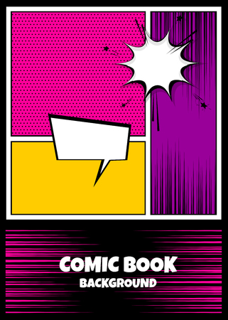 Blank humor graphic. Pop art comics book magazine cover template. Cartoon funny vintage strip comic superhero, text speech bubble balloon, box message, burst bomb. Vector colored halftone illustration 向量圖像