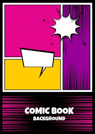 Blank humor graphic. Pop art comics book magazine cover template. Cartoon funny vintage strip comic superhero, text speech bubble balloon, box message, burst bomb. Vector colored halftone illustration Vettoriali