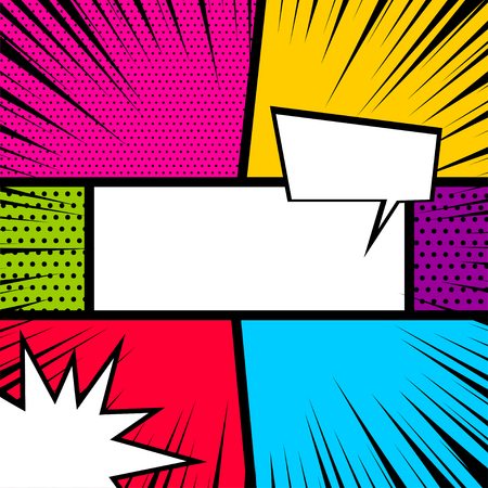 Vector colored halftone illustration. Blank humor graphic. Pop art comics book magazine cover template. Cartoon funny vintage strip comic superhero, text speech bubble balloon, box message, burst.