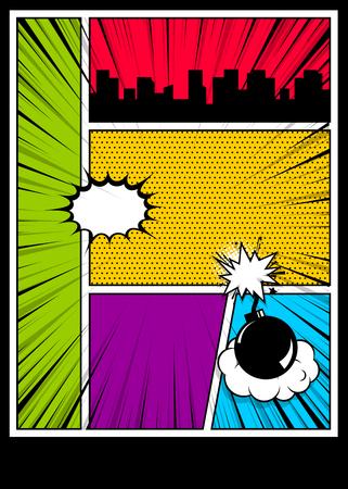 Comic Book Cover Template | Bunte Schablone Des Comic Buches Mit Radialeffekten Auf Neun