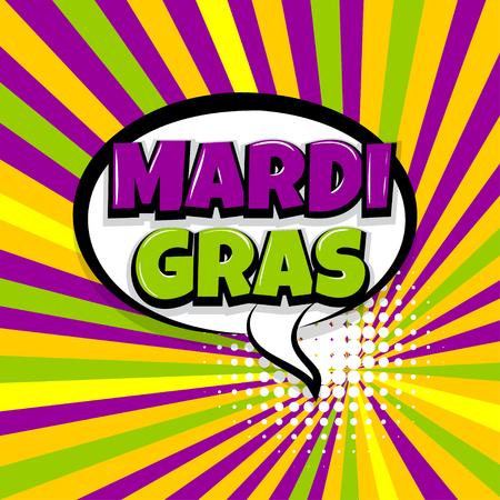 Mardi Gras comic text radial backdrop