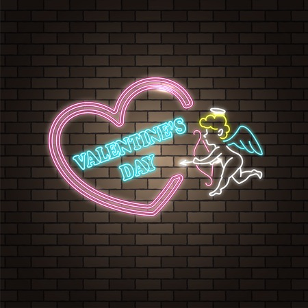 Angel cupid. Neon happy Valentine's Day banner. Valentine lamp romance heart shape. Colored vector light glow poster. Nightclub bulb brick wall label card design. Holiday greeting. Love background