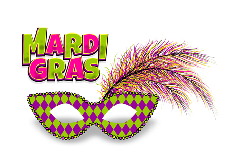 Mardi Gras - Fat Tuesday carnival carnival in a French-speaking country. Comic book text cartoon vector illustration pop art. Realistic colored texture mask feather. Isolated white background.