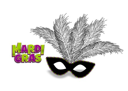 Mardi Gras - Fat Tuesday carnival carnival in French-speaking country. Colored comic book text cartoon vector illustration pop art. Realistic colored texture mask feather. Isolated white background.