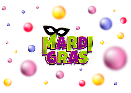 Colored blurred pearls shimmer random falling. Comics text black mask isolated. Mardi Gras - Fat Tuesday carnival carnival in a French-speaking country. Comic book cartoon vector illustration pop art.