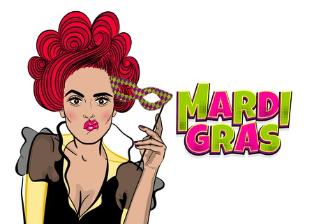 Dare pop-art woman girl wow face kitsch fashion. Hold hand mask. Mardi Gras - Fat Tuesday carnival carnival in a French-speaking country. Comic book cartoon vector illustration pop art speech bubble. Stock Photo