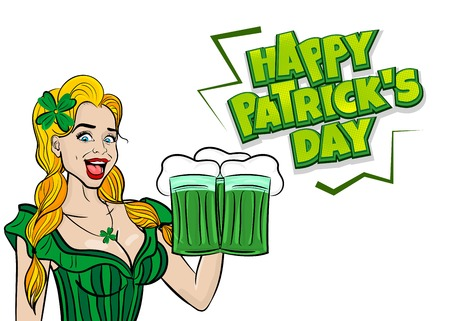 Funny blonde pop art woman St Patrick day