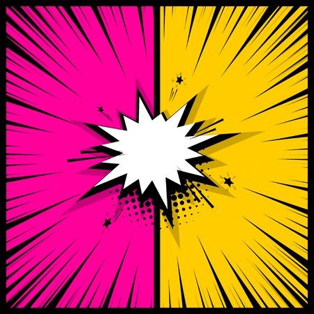 コミックブック空の色付きテンプレートの背景。ポップアートカラフルな背景モックアップ。ベクトルイラストハーフトーンドットチャットモック  イラスト・ベクター素材