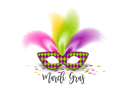 Mardi Gras mask- Fat Tuesday handwriting lettering carnival French-speaking country. Comic text cartoon vector illustration pop art. Realistic colored texture mask feather. Isolated white background.