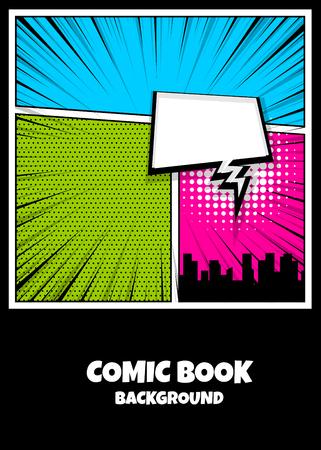 Color comics book cover vertical backdrop