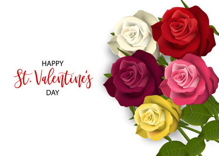 Multicolor Realistic Red Rose St Valentine\'s Day Card. Love Flower ...