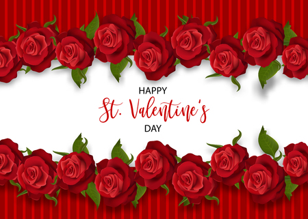 Realistic red rose St Valentine's day card. Love flower bouquet Valentines banner frame. Beautiful holiday blossom invitation. Vector colored illustration. Spring summer wedding background 免版税图像