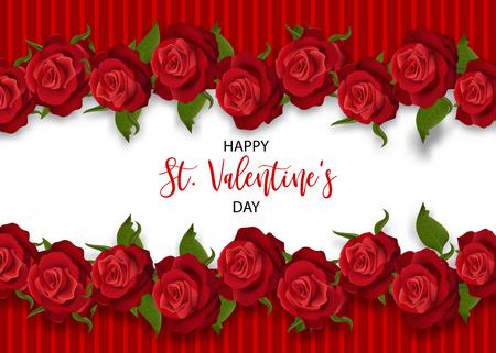 Realistische rode roos St Valentijnsdag kaart. Liefde bloemboeket Valentines spandoek. Mooie vakantie bloesem uitnodiging. Vector gekleurde illustratie. Lente zomer bruiloft achtergrond