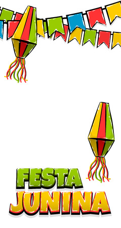 Festa Junina vertical text banner
