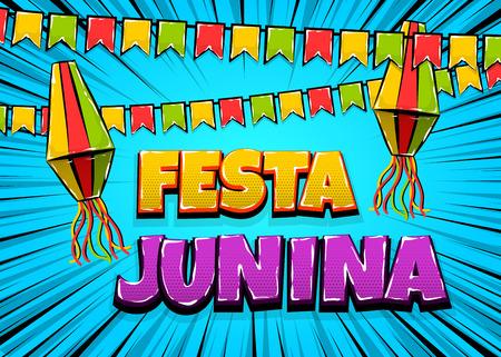 Festa Junina comic text pop art Illustration