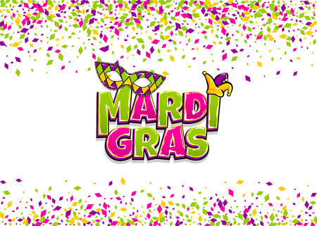 Comics text mask isolated. Colored shimmer random falling. Mardi Gras - Fat Tuesday carnival carnival French-speaking country. Comic book cartoon vector illustration pop art isolated background.
