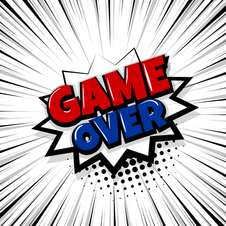 Game over comic text stripper backdrop. Vettoriali