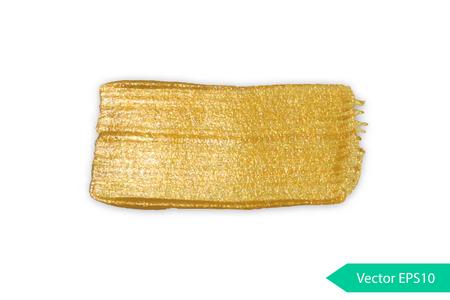 Gold acrylic brush stroke. Abstract background design vector illustration. Isolated grunge shape golden oil splash. Color paintbrush banner. 일러스트