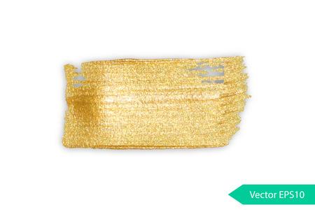Gold acrylic brush stroke. Abstract background design vector illustration. Isolated grunge shape golden oil splash. Color paintbrush banner. Stock Illustratie
