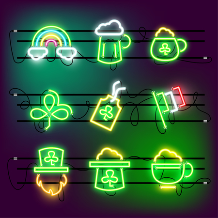 St Partricks Day icon set neon effect Illustration