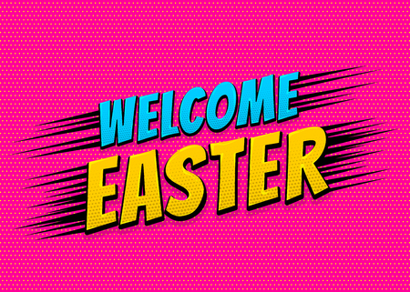 Happy Easter comic text pop art vintage poster.