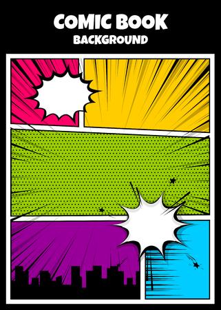 カラー漫画ブックカバー垂直背景