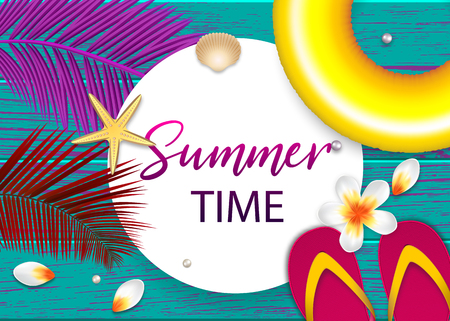 Summer time tropical sale banner background