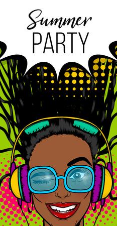 Summer music banner woman disco pop