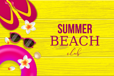 Summer tropical beach club background Vector illustration with sunglasses, slippers and flowers. Illustration