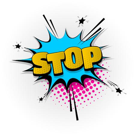 stop, no hand drawn pictures effects. Template comics speech bubble halftone dot background. Pop art style. Comic dialog cloud, space text pop-art. Creative idea conversation sketch explosion.