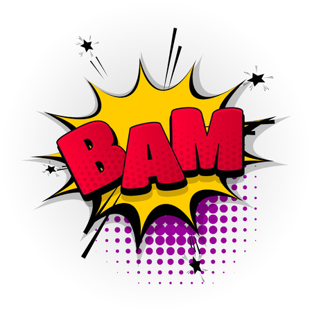 A bam boom bang hand drawn pictures effects. Template comics speech bubble halftone dot background. Vettoriali