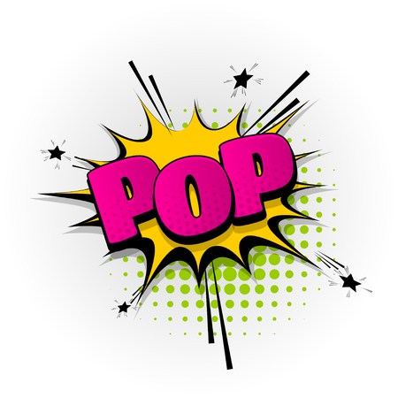 A pop art style hand drawn pictures effects. Template comics speech bubble halftone dot background.