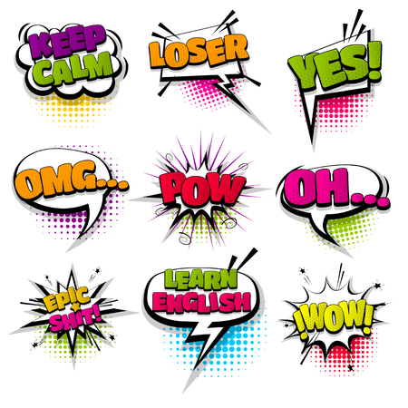 omg loser keep calm oh set hand drawn pictures effects template comics speech bubble halftone dot background pop art style. Comic dialog cloud, text pop-art. Idea conversation sketch explosion.  イラスト・ベクター素材