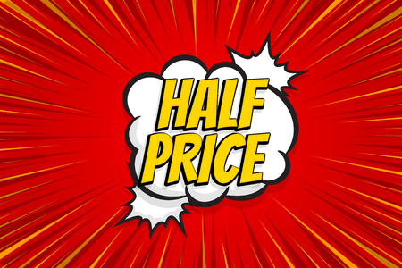 Seasonal sale comic text pop art sticker