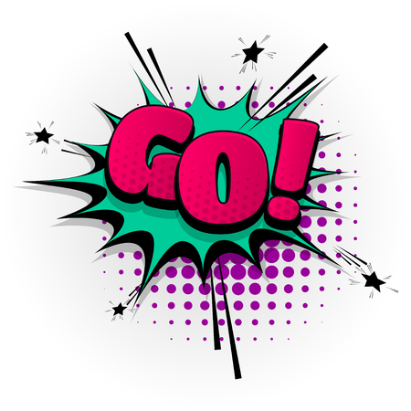 Go yes hand drawn pictures effects. Template comics speech bubble halftone dot background. Pop art style. Comic dialog cloud, text pop-art. Creative idea conversation sketch explosion. Illustration