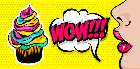 Profile face beautiful woman pop art style. Wow shocked face vintage girl cupcake. Sweet cake colored poster comic text speech bubble design. Summer kitsch dessert party advertise.