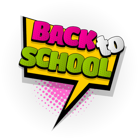 back to school comic book text pop art